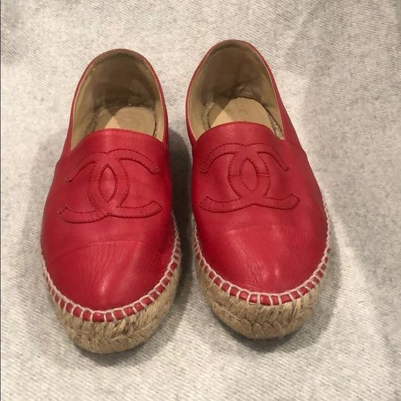 CHANEL Shoes   Red Chanel Espadrilles